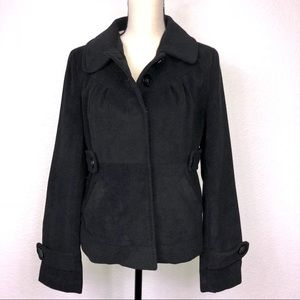 Tulle Black Hidden Button Pea Coat Lined Large Jr